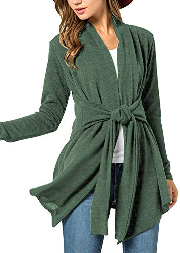 Women Long Sleeve Tie Waist Open Front Kimono Wrap Lightweight Cotton Cardigan Forest Green 2XL