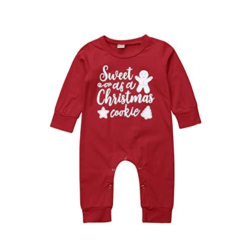 Bébé Filles Noël Barboteuse drôle Lettre imprimée Body à Manches Longues Onesies Combinaison Tenue Globale (Rouge, 0-6m)