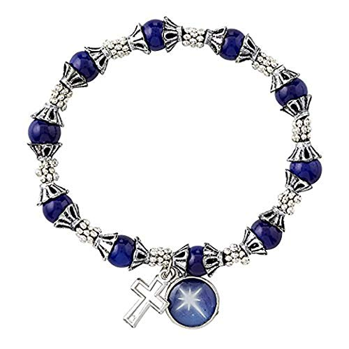 Bethlehem Star and Cross Charm Rosary Bracelet with Silver-Toned and Blue Beads