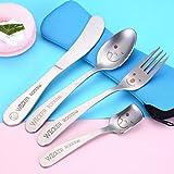 Cubiertos, vajilla de acero inoxidable 4pcs, niños de dibujos animados camping cuchillo/tenedor/cuchara/cucharadita servicio para 2,a