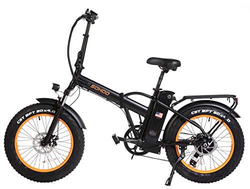 SOHOO 48V500W12AH 20' x4.0 Folding Fat Tire Electric Bicycle Mountain E-Bike Removable Battery Foldable Snow Electric Bike