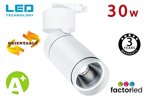 FactorLED Foco Blanco LED 30W para Carril Monofásico, Foco Orientable, Foco de iluminación comercial, Foco Carril LED para escaparates, 3 Años de Garantía