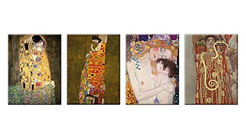 LuxHomeDecor Cuadros Gustav Klimt El Beso Medicina Hope Le Tres Edad de Una Mujer 4 Piezas 40x30 cm Impresión sobre lienzo con marco de madera Arte Decoración
