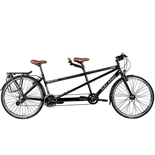 Galano Tandem Fahrrad 700c Berlin 28 Zoll Trekkingrad 21 Gang Shimano Touring (schwarz, 51/46 cm) - 2