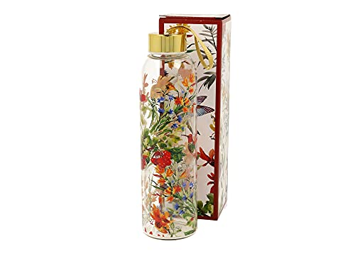 DUO Botella de cristal Linnea de 580 ml, botella de cristal, botella de agua, té, zumo, de cristal, diseño de flores, multicolor, tapa dorada, caja de regalo