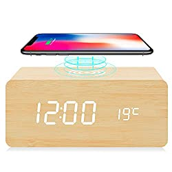 fomobest Digital Wooden Alarm Clock with Wireless Charging, 3 Alarm Settings, Snooze, Sound Control, Adjustable Brightness, Wood Made Electric Clocks for Bedroom, Bedside, Kid (Bamboo)