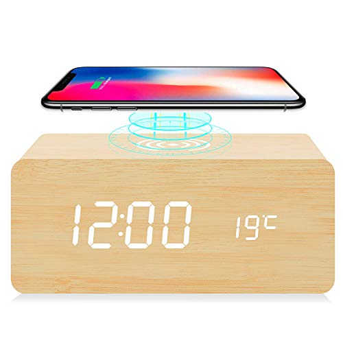 fomobest Wooden Alarm Clock with Wireless Charging for iPhone Samsung Wood Digital LED Desk Clock for Bedroom 3 Alarm Settings Sound Control Adjustable Brightness Time Temperature Bamboo