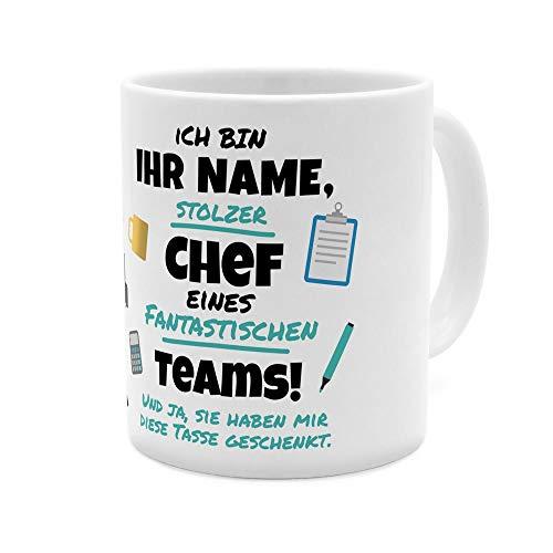 printplanet® Tasse mit Namen personalisiert - Motiv Stolzer Chef - individuell gestalten - Farbvariante Weiß