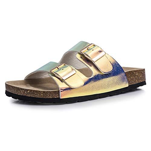 FITORY Damen Sandalen Bequeme Pantoletten Flach Korkfußbett Hausschuhe 36.5/37 EU Gold