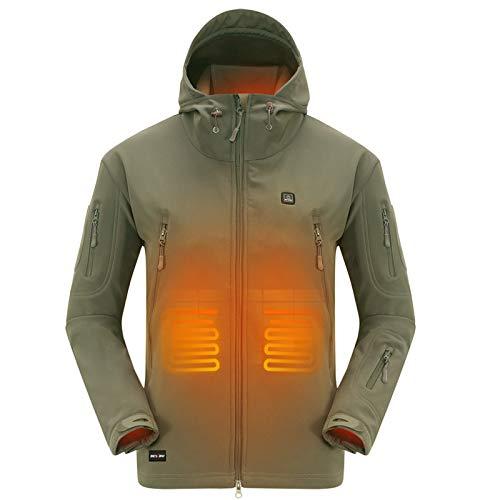 DEWBU Veste chuaffante avec 7.4V Batterie Hiver Soft Shell Manteau Chauffant Électrique pour Homme,Olive Verte,L Plus