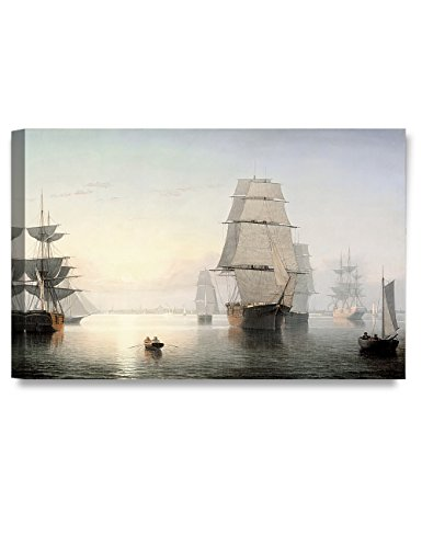 DECORARTS -Boston Harbor, Sunset, Fitz Henry Lane Classic Art Reproductions. Giclee Canvas Prints Wall Art for Home Decor 30x20 x1.5