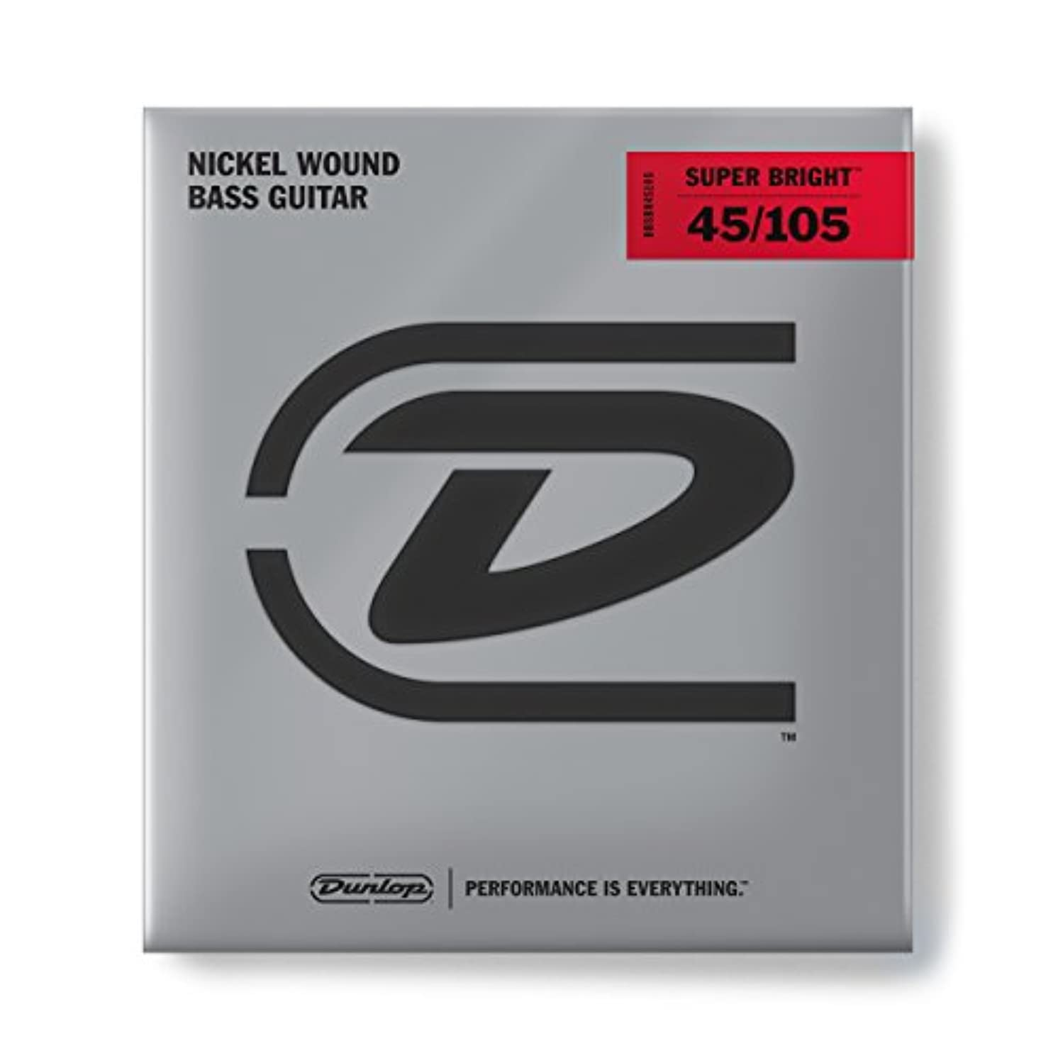 Dunlop DBSBN45105 Super Bright Bass Strings, Nickel Wound, Medium, .045–.105, 4 Strings/Set