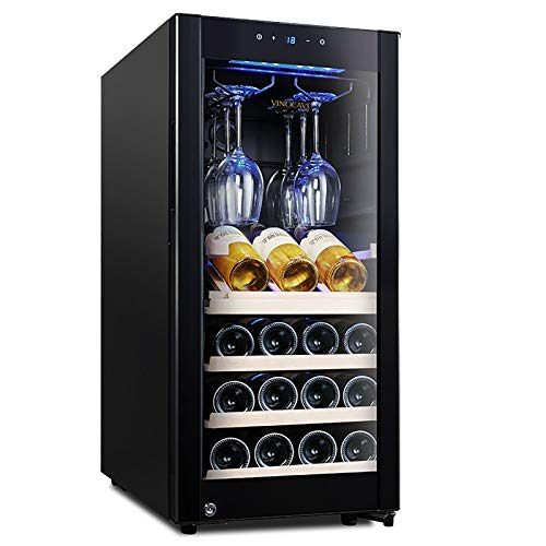 90 liters Wine Fridge 20 Bottle Wine Cooler Refrigerator Small Countertop Freestanding Wine Cellars Compressor Silent shock absorption With hanging cup holder