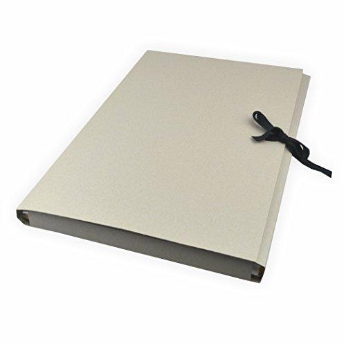 5 Stück Sammelmappen aus Graupappe, DIN A2 ohne Druck, mit Band Karton grau mit 3 Klappen bis zu ca. 200 Blatt a 80g/m²