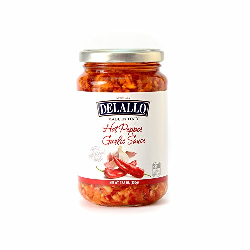 DeLallo Imported Hot Pepper Garlic Sauce, 12.3-Ounce Jars (Pack of 6) (Roasted Peppers In Olive Oil And Garlic)