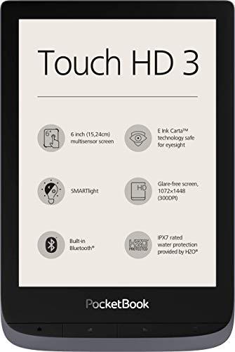 PocketBook e-Book Reader 'Touch HD 3' (16 GB Speicher; 15,24 cm (6 Zoll) E-Ink Carta Bildschirm; SMARTlight; Wi-Fi; Bluetooth) in Silbergrau