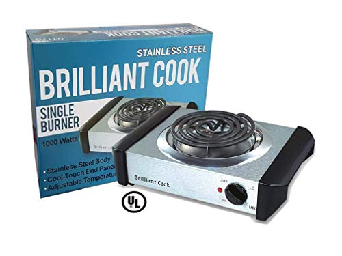 Stainless Steel Single Burner Electric Hot Plate Black Single Counter Burner 1000 Watt Stainless Steel Body UL Approved