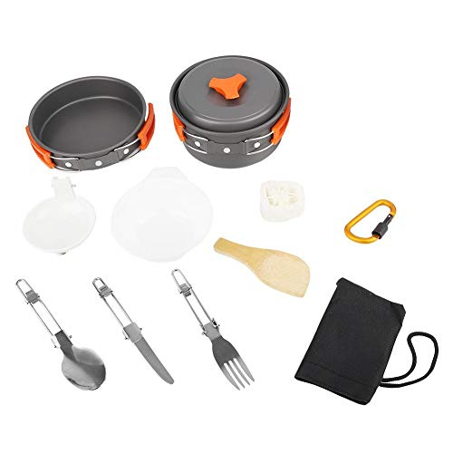 nobrands Camping Cookware Outdoor Camping Cooking Pan Pot Bowl Portable Cookware Kit Folding Tableware Set
