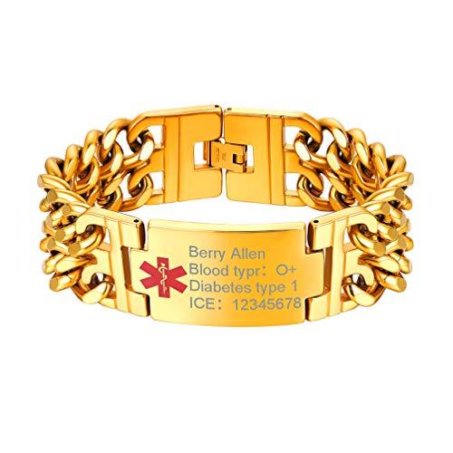 PROSTEEL Herren Medical Armband personalisiert Panzerkette Armband 18k vergoldet Doppel Gliederkette Armband Schmuck Notfall SOS Ice Alarm Infos Gravur Geschenk für Epilepsie Alzheimer