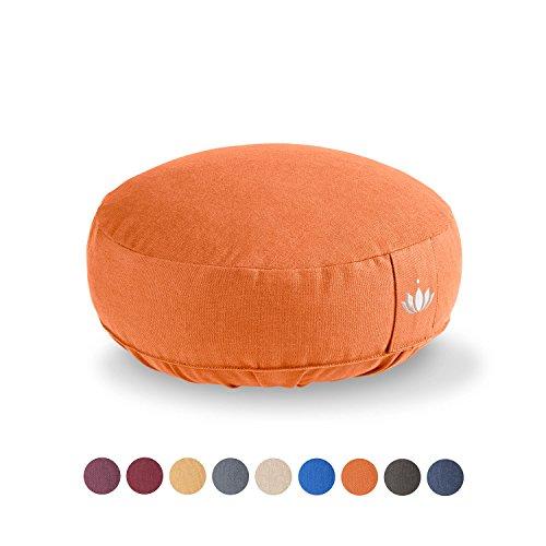 Lotuscrafts Yogakussen Meditatiekussen Extra Laag - zithoogte 10cm - wasbare katoenen hoes - yoga zitkussen met speltvulling - GOTS gecertificeerd