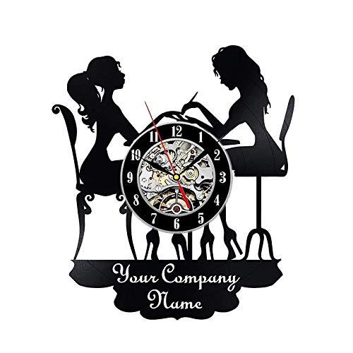 NIUYGB Salón de uñas Disco de Vinilo Reloj de Pared Estudio de manicura Reloj de Vinilo Reloj de Pared Salón de Belleza Decoración