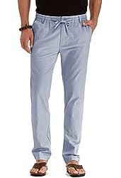 0b976f93ae80 Mr.Zhang Men's Drawstring Casual Beach Trousers Linen Summer Pants