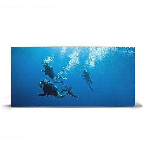 banjado Design Magnettafel grau | Wandtafel magnetisch 37x78cm groß | Metall Pinnwand | Memoboard mit Magneten und Montageset | Motiv Taucher