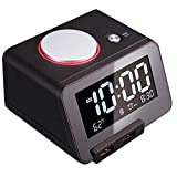 """Homtime Alarm Clock with Bluetooth & Charger: Dual USB Charging & Bluetooth Speaker - 3.2"""" LCD Display Screen Dimmable Light Digital Alarm Clocks for Girls/Adult Bedroom (Black)"""