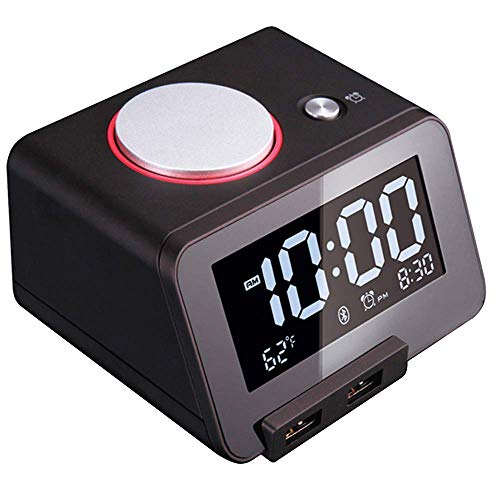 Homtime Alarm Clock with Bluetooth & Charger: Dual USB Charging & Bluetooth Speaker - 3.2' LCD Display Screen Dimmable Light Digital Alarm Clocks for Girls/Adult Bedroom (Black)