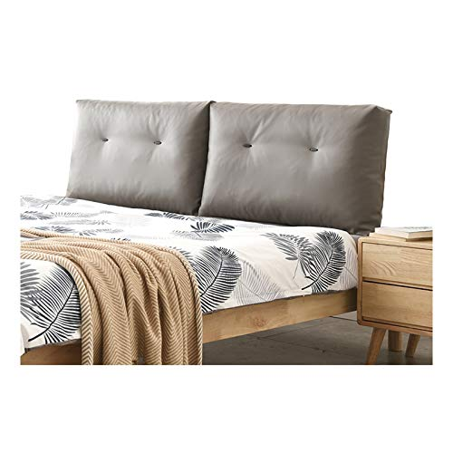 Headboard Cushion, Pillow Large Bolster Support Reading Backrest Bed Leatherette With Removable Cover Thickened for Home Bedrooms, 5 Colors QianDa (Color : Gray, Size : 150x15x50cm)