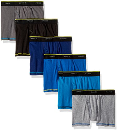 Hanes Boys' Cool Comfort Breathable Mesh Boxer Brief 6-Pack, Assorted, Medium