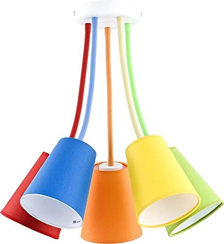 Lámpara de techo multicolor para habitación infantil, flexible, brazos ajustables, 5 luces, diseño de Banta
