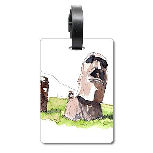 Étiquette d'identification pour Valise de Voyage Motif Statues de Moai dans l'île de Pâques