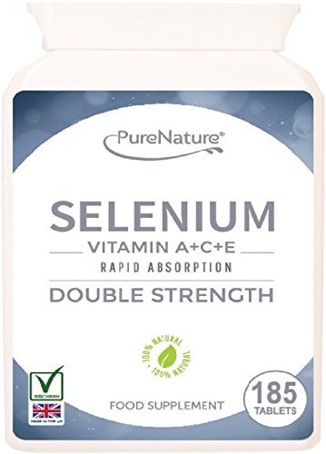 185 Selenium Tablets - 6-Month Supply - Plus Essential Vitamins A, C & E - Suitable for Vegetarians - Free UK Delivery