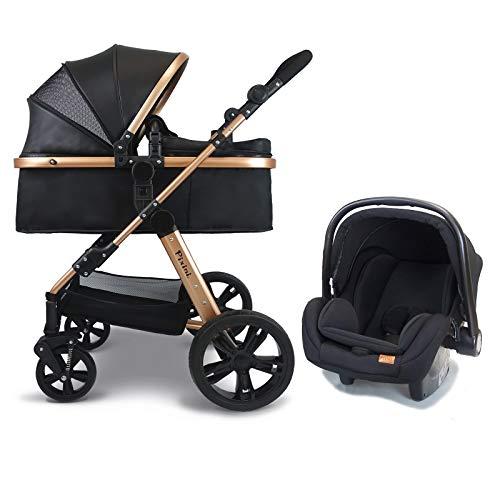 Pixini Kinderwagen (Arizona 3in1 Kombikinderwagen, inkl. Babywanne & Buggy & Auto-Babyschale - Alu-Rahmen in gold/schwarz)