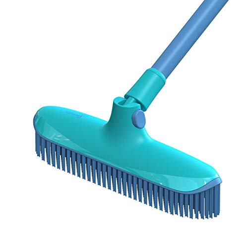Spontex Catch & Clean, Kehrbesen mit Gummiborsten, Teleskopstiel und praktischem Auffangbehälter, hygienische und effiziente Reinigung für alle Bodenbeläge, 1 Set - 25