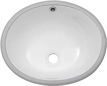 Sarlai Pure White Porcelain Ceramic Undermount Bathroom Sink