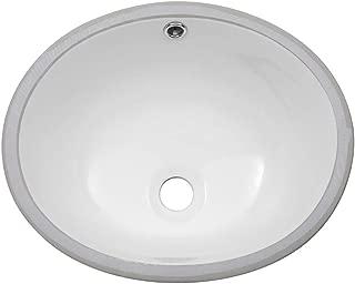 Sarlai 16' Pure White Oval Undermount Sink Porcelain Ceramic Lavatory Vanity Bathroom Sink