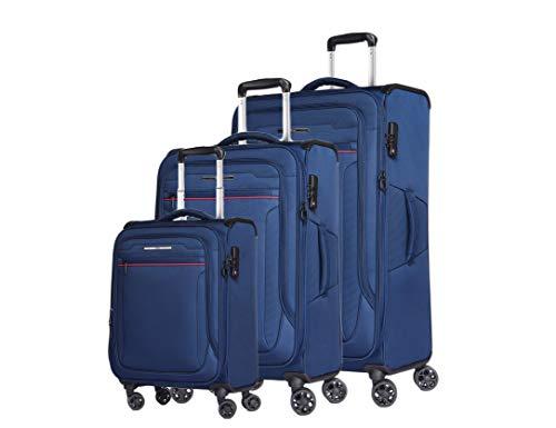 ABISTAB Verage Toledo Weichgepäck 4 Doppelrolle Trolley Set 3-teilig Weichschale Kofferset S M L, erweiterbar, TSA-Schloss, mit Stoff Handgepäck-Koffer Blau