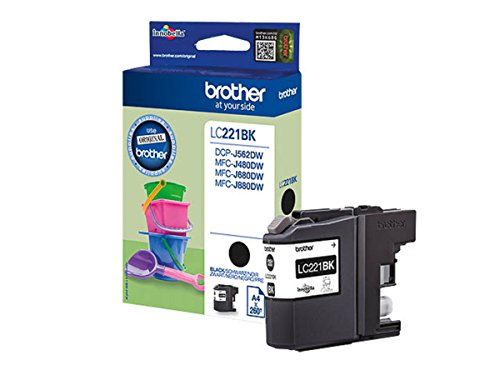 Brother original - Brother MFC-J 480 DW (LC221BK) - Tintenpatrone schwarz - 260 Seiten - 7,1ml