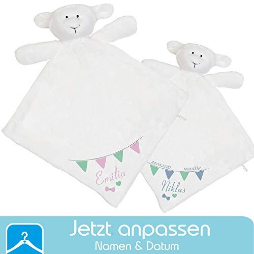 Persönliches Schnuffeltuch Schaf mit Namen (Datum & Uhrzeit optional) - Schmusetuch und Kuscheltier fürs Baby Junge und Mädchen - Geschenk zur Geburt oder für das Patenkind zur Taufe (Fähnchen)