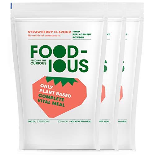 FOODIOUS Erdbeere Eiweißpulver-100% Vegan-Ideal als Mahlzeitersatz oder Diät Shake-Real Dried Strawberries Inside-Frühstückspulver 3 Pack x 500g=15 Mahlzeiten-Premium Zutaten-Low Zucker Protein Pulver