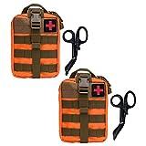 Krisvie 2Pcs Médica Bolsa Primeros Auxilios Bolsa Táctica Compacta Botiquín y el Esquileo de Los Primeros Auxilios (Naranja)