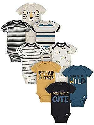 Onesies Brand Baby Boys' 8-Pack Short Sleeve Mix & Match Bodysuits, Dangerously Cute Tiger, 6-9M from Onesies Brand