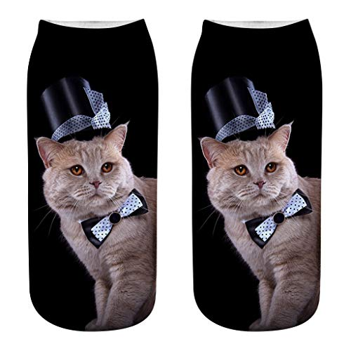 New Meidexian888 Low Cut Socks, 3D Novelty Funny Cat Cute Casual Socks Gift (H)