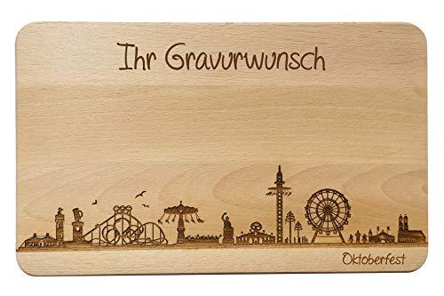 SNEG Brotzeitbrett Oktoberfest München Skyline | Wiesn Frühstücksbrett aus Buche | Holz Schneidbrett | Geschenk mit Gravur (Brett XL (35x23x1,5cm), 2. mit persönlicher Gravur)