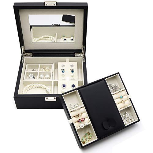 ProCase Schmuck Halter Box für Frauen Mädchen, Zwei Schichten Kunstleder Schmuck Organizer Aufbewahrungskoffer mit Spiegel für Halskette Ohrringe Armbänder Ringe Uhren-Schwarz