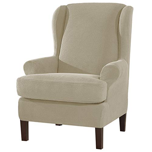Subrtex Strench Wingback Sessel-Sofabezug, 2 Stück, weicher Sofa-Schonbezug, Spandex-Stuhlbezug, waschbarer Möbelschutz für Wohnzimmer (Flügelstuhl, Sand)