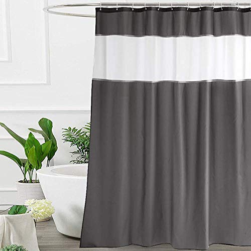 UFRIDAY 72 by 72 Inches Shower Curtain Dark Grey and White...