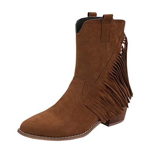 Yowablo Stiefel Frauen Plus Size Quaste Knöchel spitzen Zehen Mode Retro Stiefel (38,Braun)